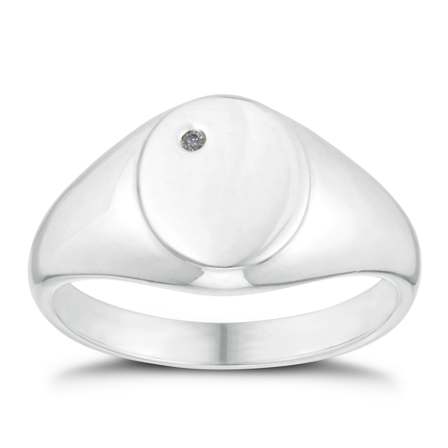 Sterling Silver Diamond Oval Ring - Product number 3271234
