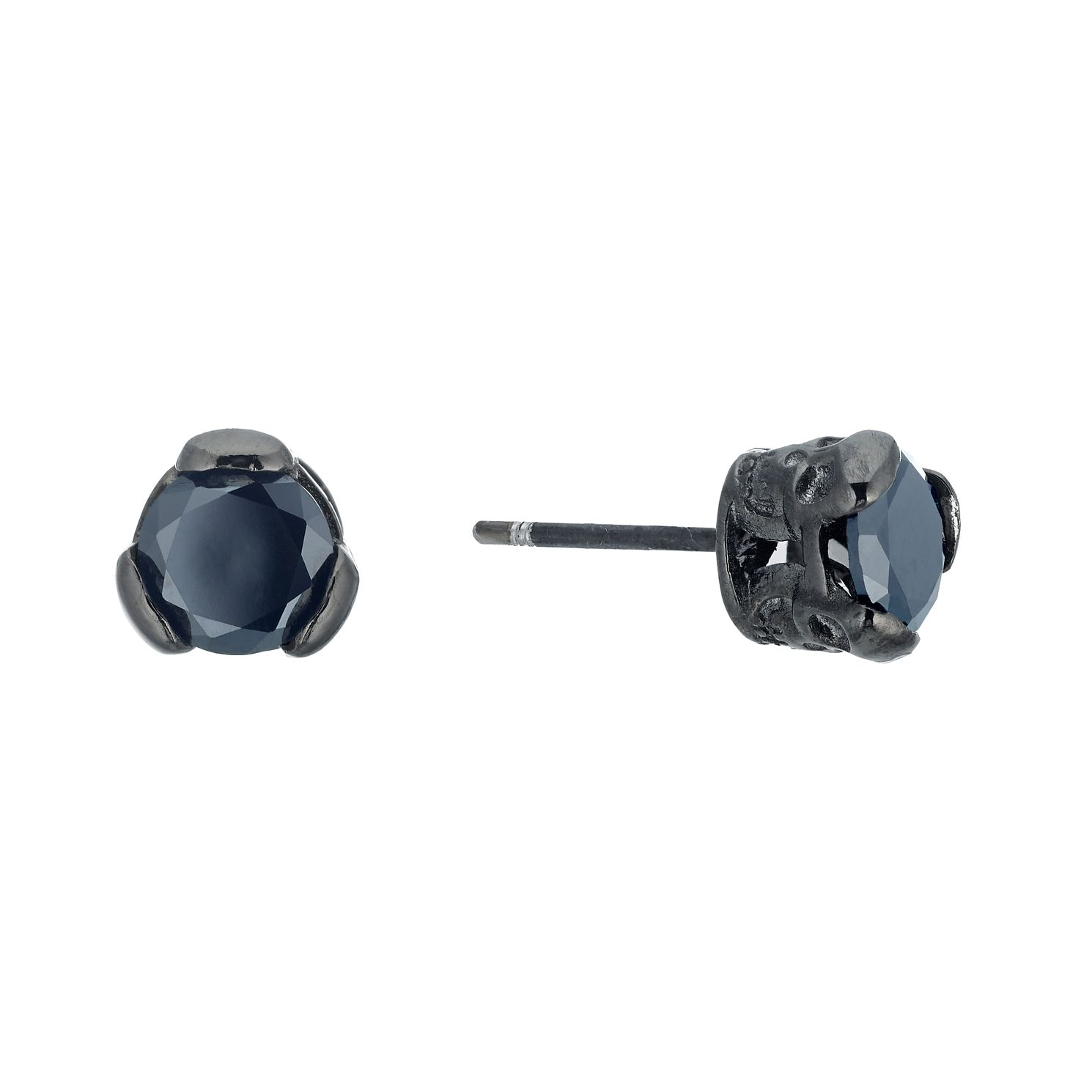 Black Stainless Steel & Black Cubic Zirconia Stud Earrings - Product number 3271447