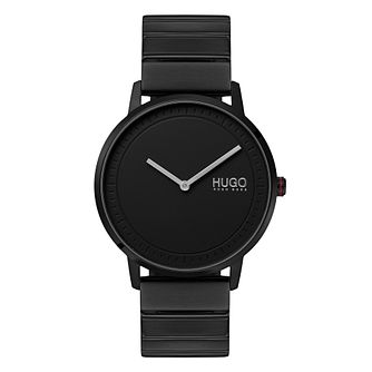HUGO ECHO Men's Black IP Stainless Steel Bracelet Watch - Product number 3273113