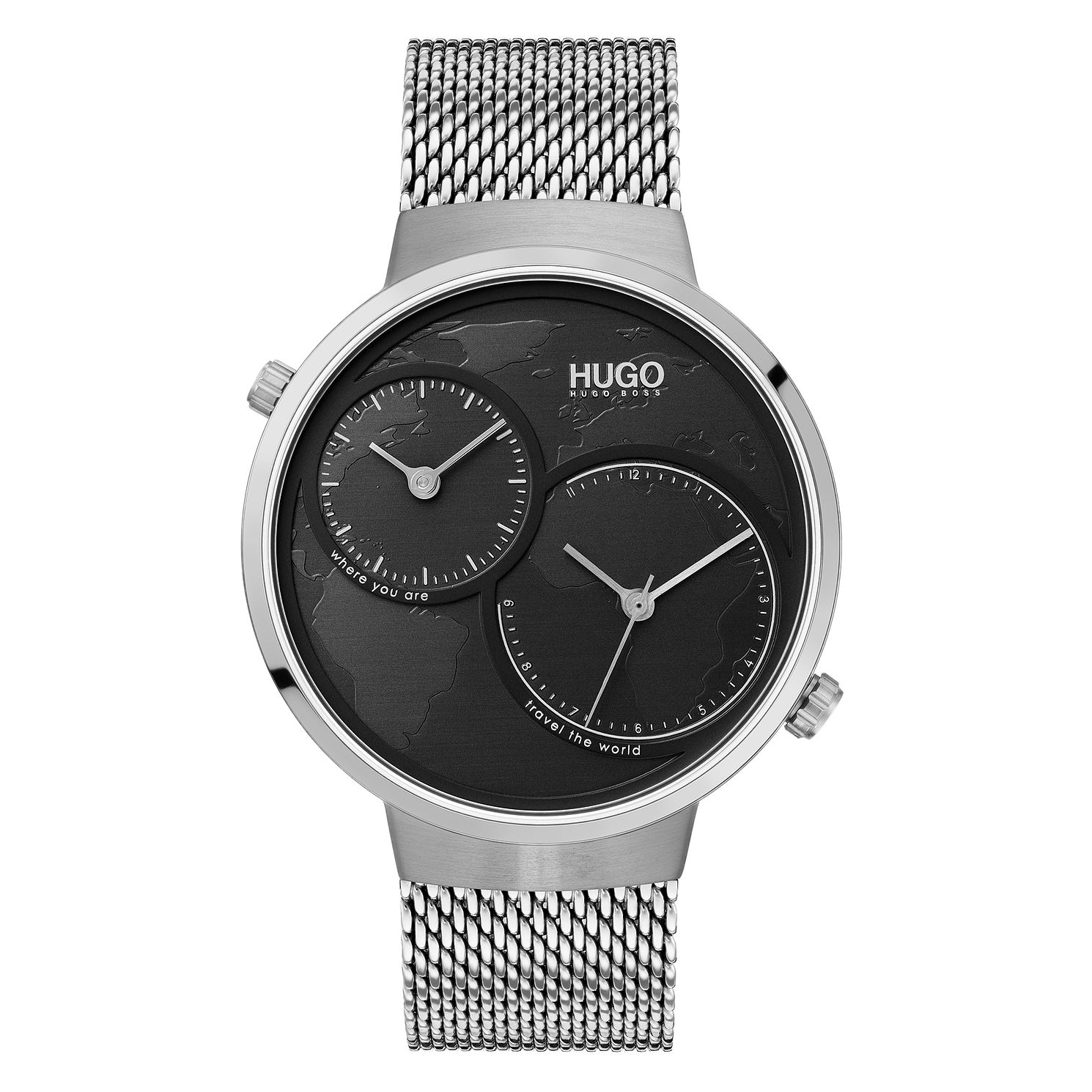 HUGO TRAVEL Men's Stainless Steel Mesh Bracelet Watch - Product number 3273148