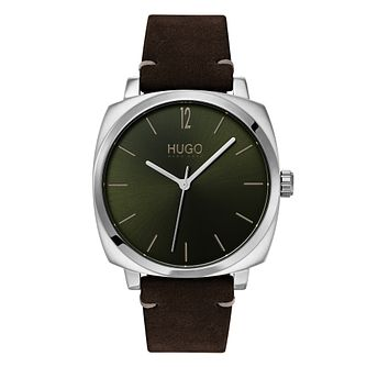 HUGO OWN Men's Brown Leather Strap Watch - Product number 3273156
