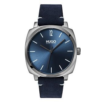 HUGO OWN Men's Blue Leather Strap Watch - Product number 3273164