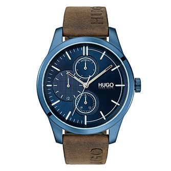 Hugo Discover Men's Brown Leather Strap Watch - Product number 3273245