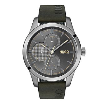 HUGO Discover Men's Green Leather Strap Watch - Product number 3273253
