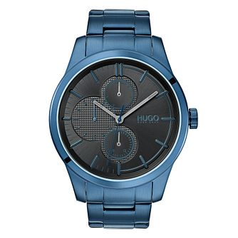 HUGO DISCOVER Men's Blue IP Stainless Steel Bracelet Watch - Product number 3273377