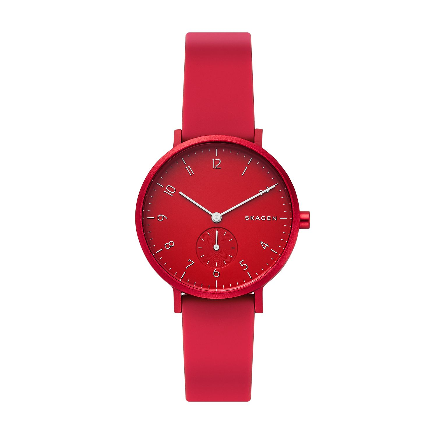 Skagen Aaren Kulør Unisex Red Silicone Strap Watch - Product number 3275965