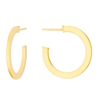 9ct Yellow Gold Squared 20mm Hoop Earrings - Product number 3276597