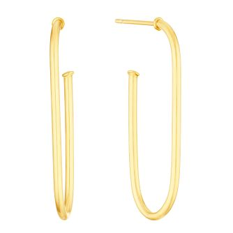 9ct Yellow Gold Paperclip Hoop Earrings - Product number 3276619