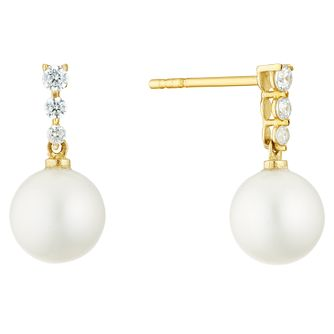9ct Gold Cultured Freshwater Pearl & Cubic Zirconia Earrings - Product number 3276740