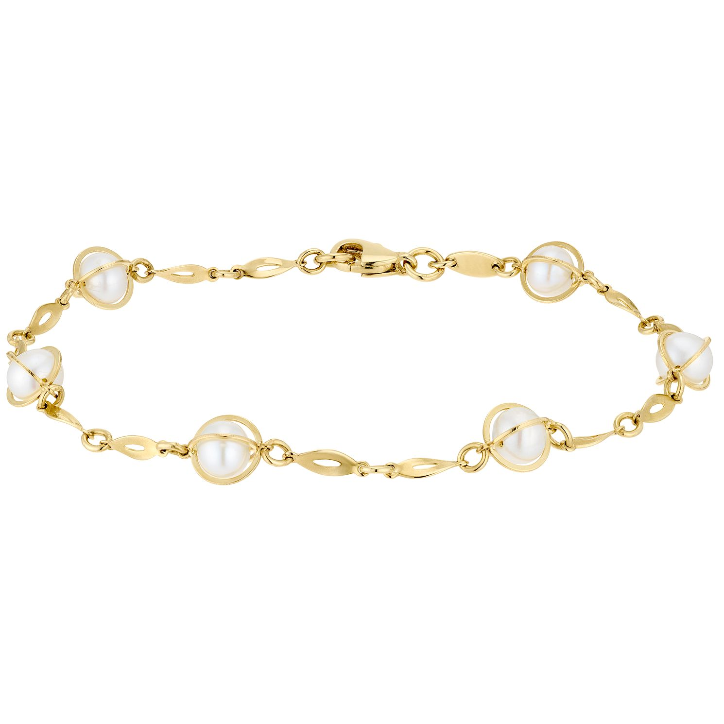 9ct Yellow Gold Cultured Freshwater Pearl Caged Bracelet - Product number 3276767