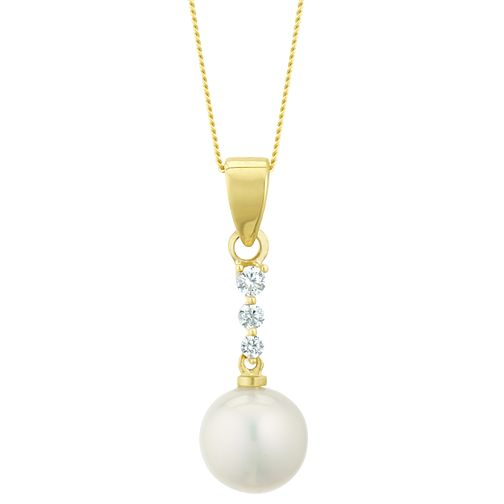9ct Gold Cultured Freshwater Pearl & Cubic Zirconia Pendant - Product number 3276775