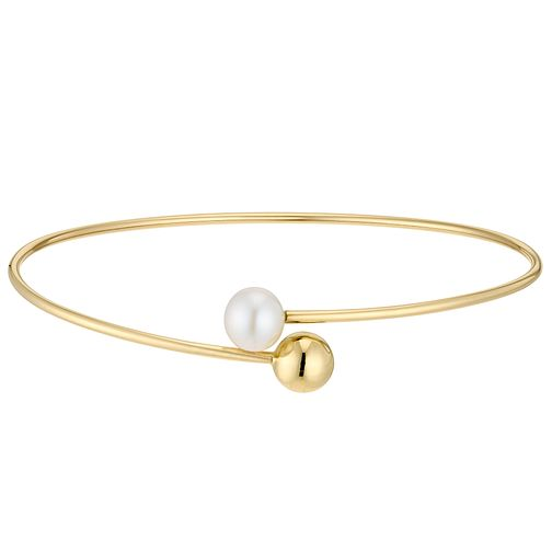 9ct Yellow Gold Ball & Cultured Freshwater Pearl Bangle - Product number 3276791