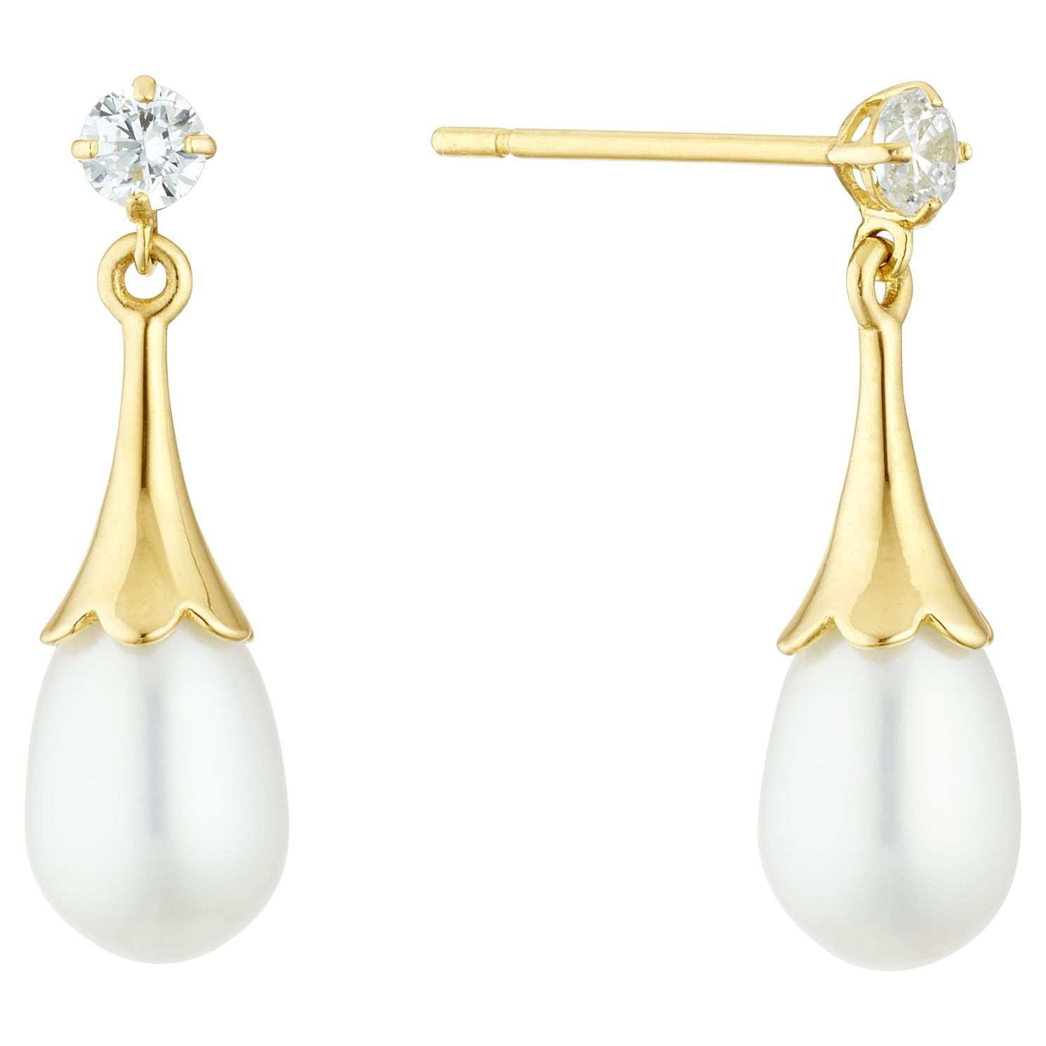 9ct Gold Cultured Freshwater Pearl & Cubic Zirconia Earrings - Product number 3280020