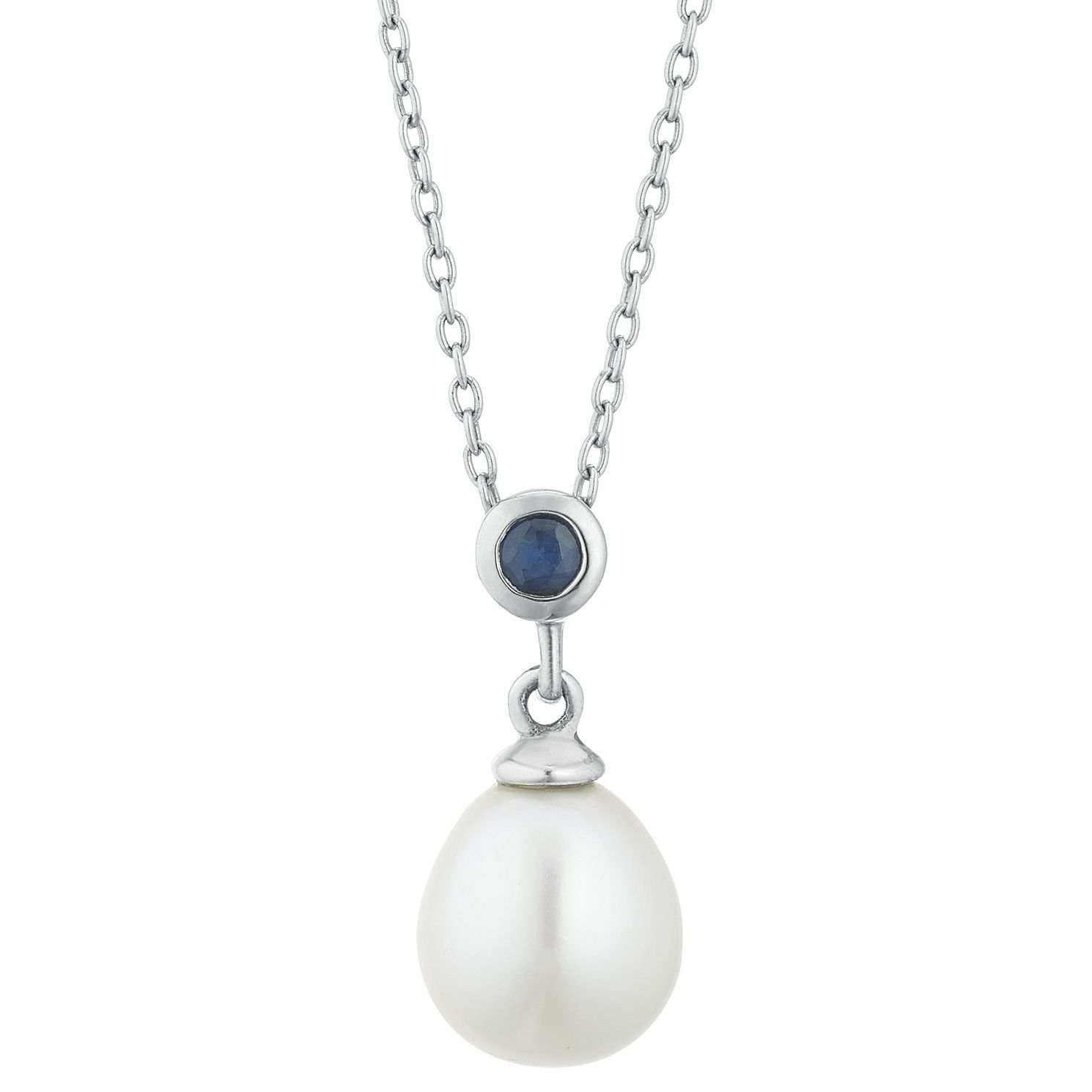Silver Sapphire & Cultured Freshwater Pearl Drop Pendant - Product number 3280071
