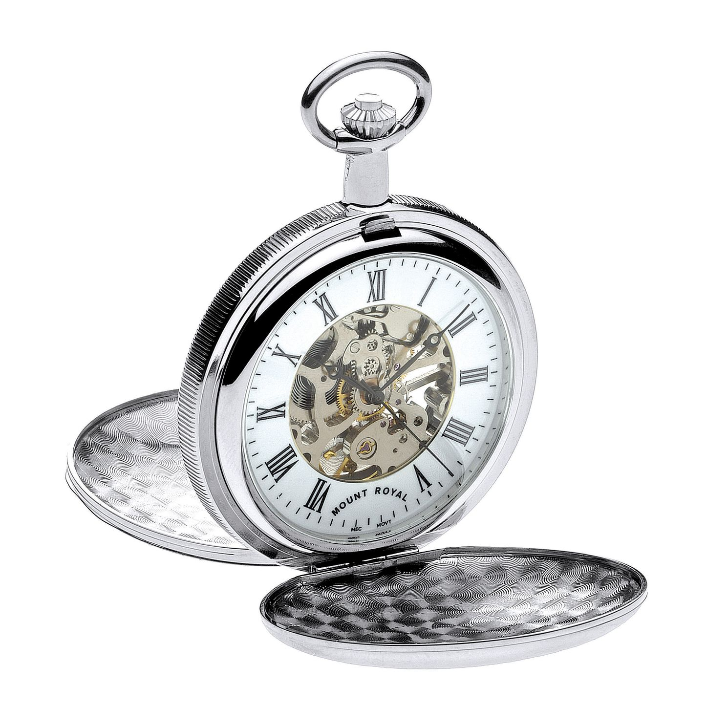 Mount Royal Silver Tone Skeleton Pocket Watch - Product number 3280152