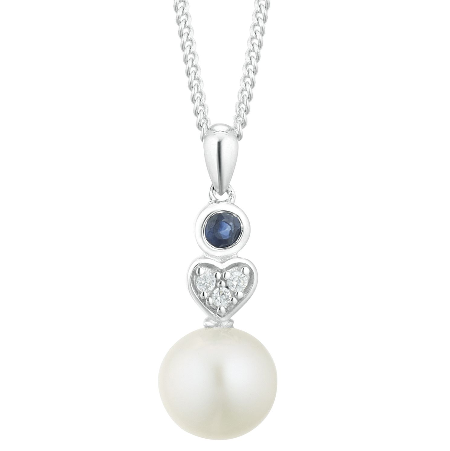 Silver Sapphire CZ Cultured Freshwater Pearl Heart Pendant - Product number 3280365