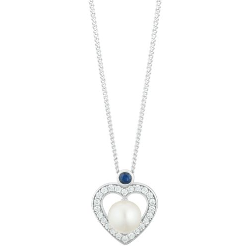 Silver Sapphire CZ Cultured Freshwater Pearl Heart Pendant - Product number 3280403