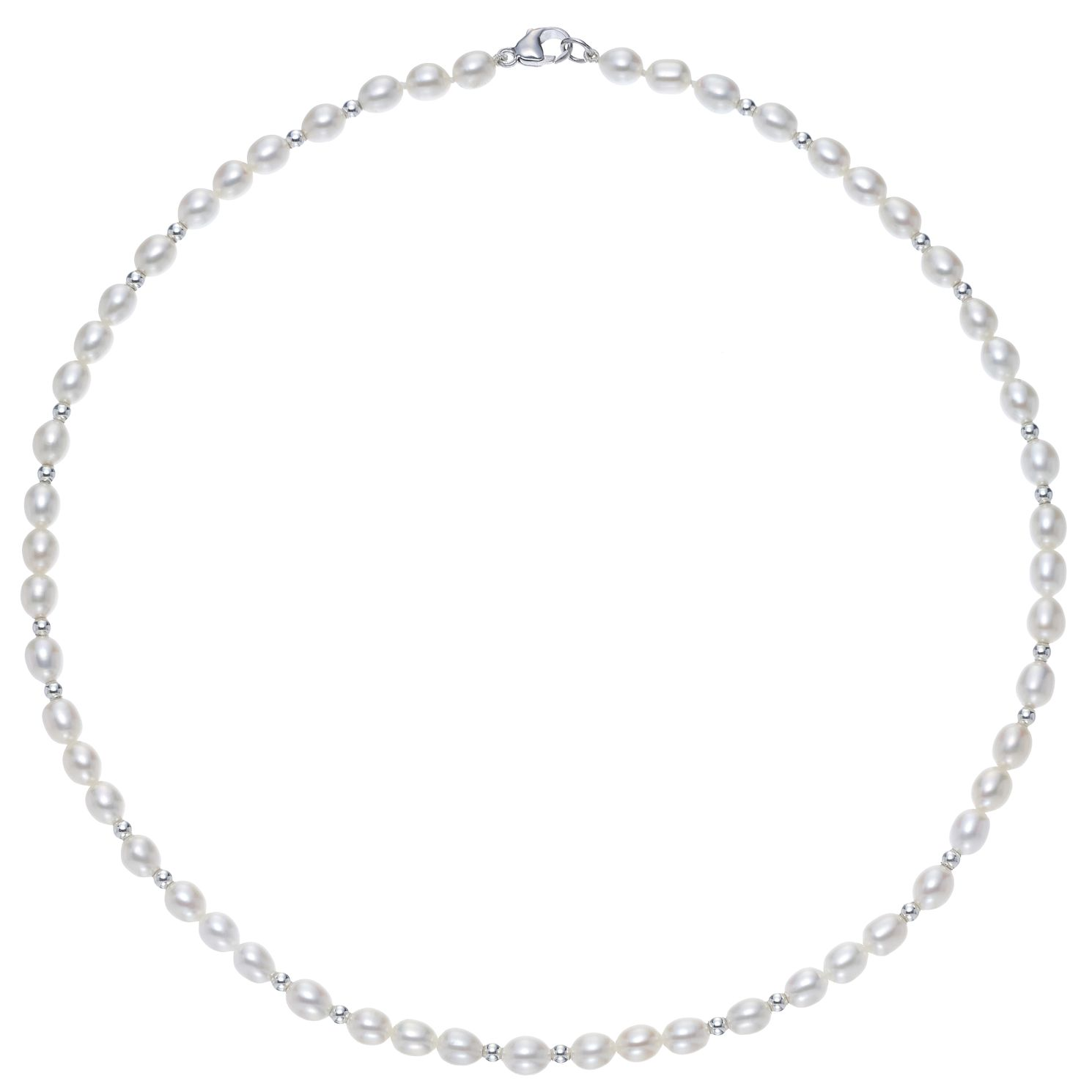 Silver Beads & Cultured Freshwater Pearl Necklace - Product number 3280500