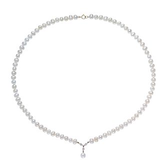 9ct Yellow Gold Cultured Freshwater Pearl & CZ Drop Necklace - Product number 3283437