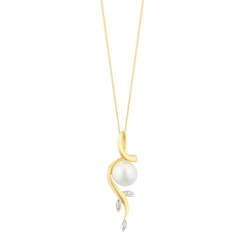 9ct Yellow Gold 3 CZ Cultured Freshwater Pearl Leaf Pendant - Product number 3283461