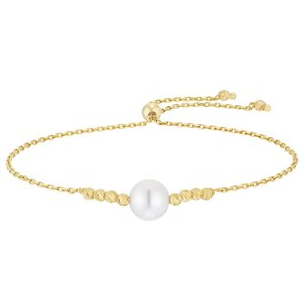 9ct Yellow Gold Ball Cultured Freshwater Pearl Bracelet - Product number 3284298