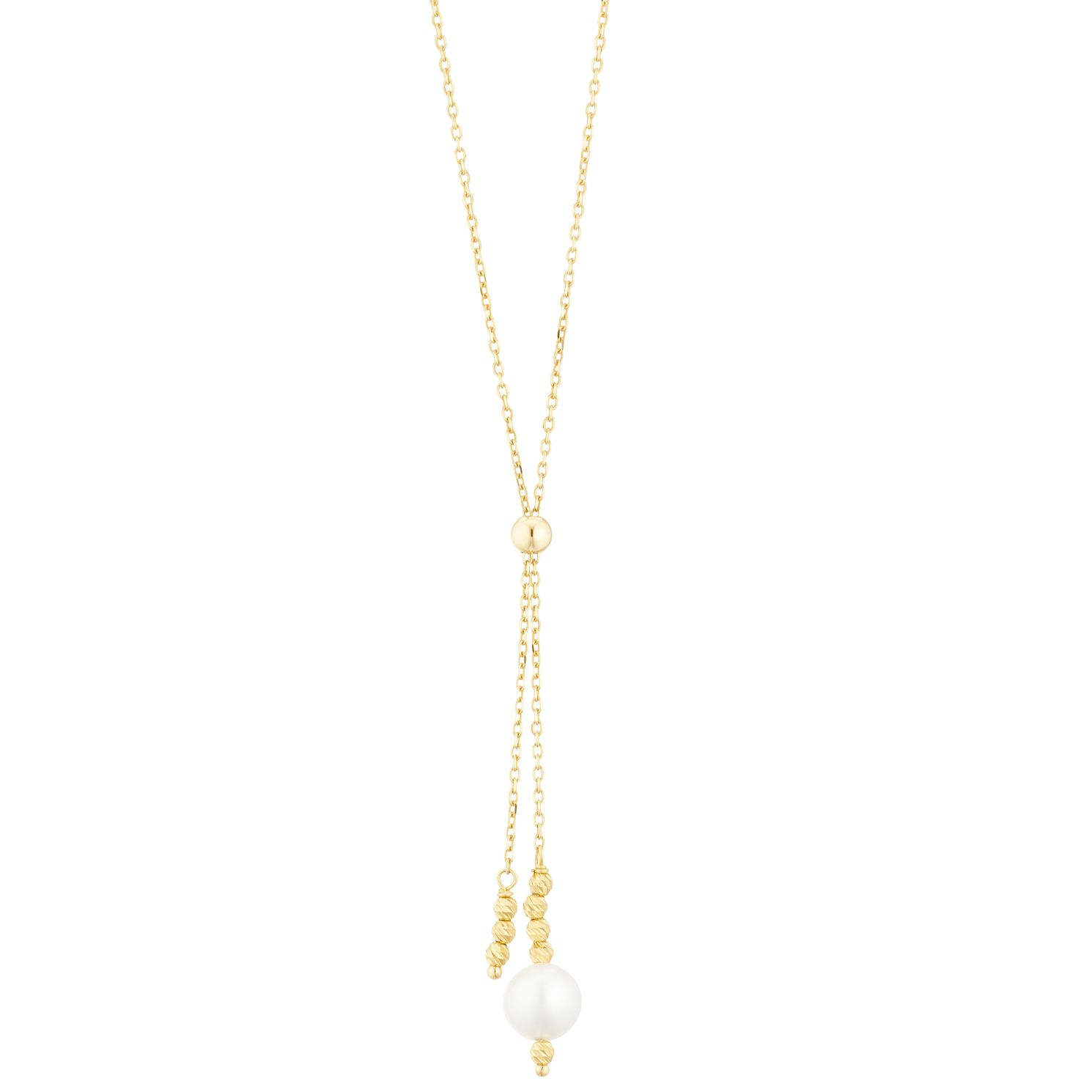 9ct Yellow Gold Ball Cultured Freshwater Pearl Necklace - Product number 3284301