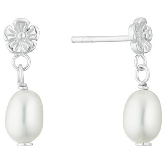 Silver Cultured Freshwater Pearl Flower Drop Earrings - Product number 3284492