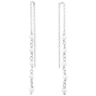 Silver Cultured Freshwater Pearl Thread-Through Earrings - Product number 3284506