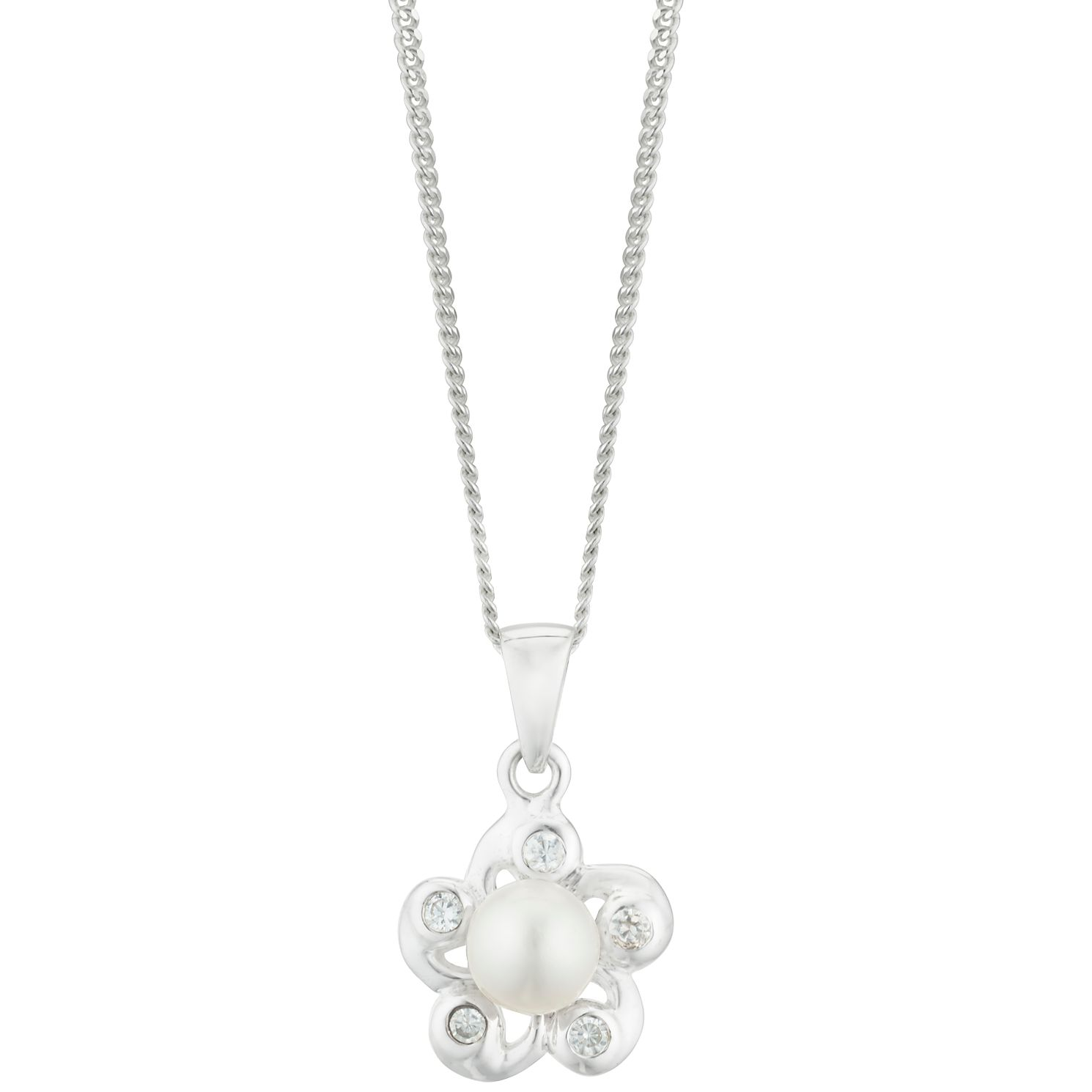 Silver Cultured Freshwater Pearl CZ Flower Pendant - Product number 3284514