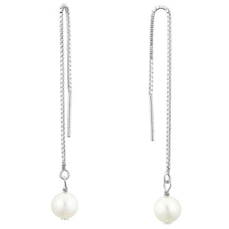 Silver Cultured Freshwater Pearl Thread-Through Earrings - Product number 3284689