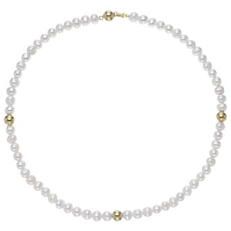 Yellow Gold Plated Cultured Freshwater Bead Necklace - Product number 3284964