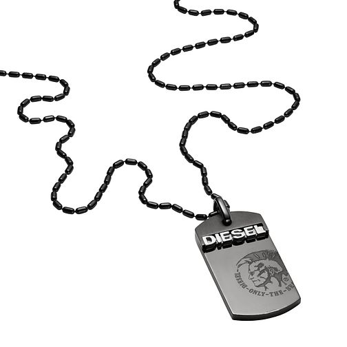 Diesel Men's Black Ion-Plated Steel Dog Tag Necklace  - Product number 3285634