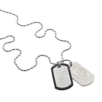 Diesel Men's Stainless Steel Duo Dog Tag Necklace - Product number 3285642
