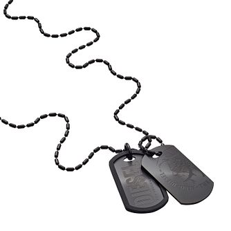 Diesel Men's Stainless Steel & PU Duo Dog Tag Necklace - Product number 3285669