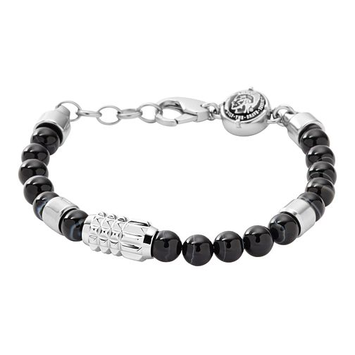 Diesel Men's Chinese Jasper & Black Agate Bead Bracelet - Product number 3285790