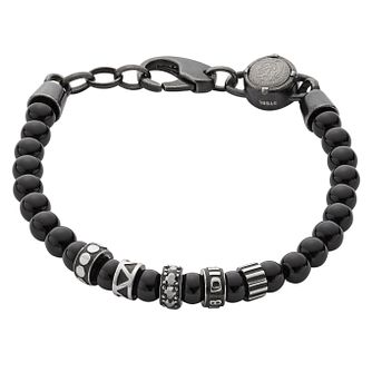 Diesel Etnik Men's Black & Pattern Metal Bead Bracelet - Product number 3285855