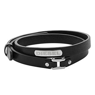 Diesel Men's Stacked Black Leather Stainless Steel Bracelet - Product number 3285871