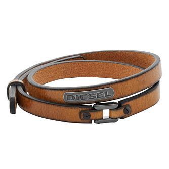 Diesel Men's Coiled Brown Leather & Gunmetal Bracelet - Product number 3285944