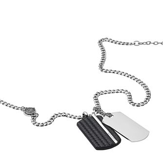 Diesel Stainless Steel & Black Leather Duo Dog Tag Pendant - Product number 3285995