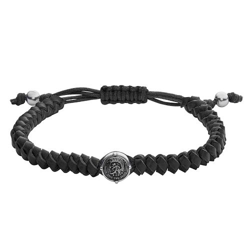 Diesel Men's Stacked Black Leather & Steel Bracelet - Product number 3286096