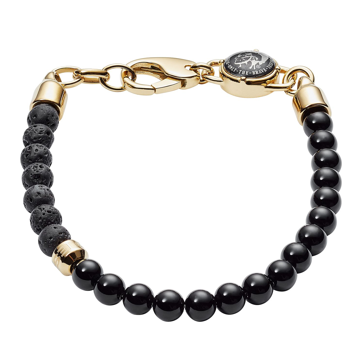Diesel Men's Ragged Black Agate & Lava Beaded Bracelet - Product number 3286126