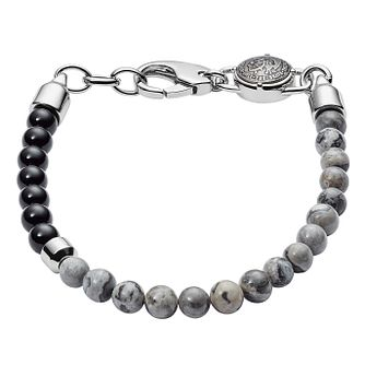 Diesel Men's Chinese Jasper & Black Agate Bead Bracelet - Product number 3286134