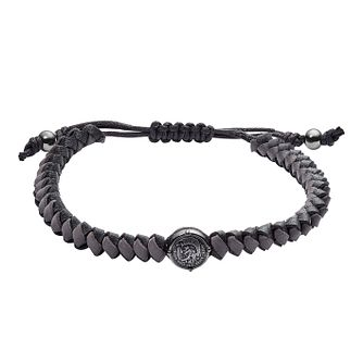 Diesel Men's Stacked Gunmetal & Grey Leather Toggle Bracelet - Product number 3286150