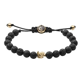 Diesel Men's Stacked Black Lava Bead Toggle Bracelet - Product number 3286169