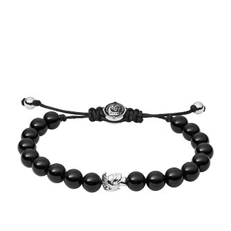 Diesel Men's Stacked Black Agate Bead Bracelet - Product number 3286177