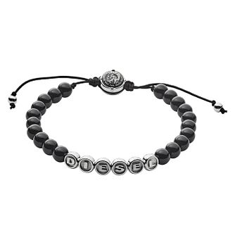 Diesel Men's Stainless-Steel & Black Agate Bead Bracelet - Product number 3286207