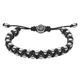 Diesel Men's Stainless Steel & Black Leather Bead Bracelet - Product number 3286231