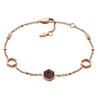 Fossil Ladies' Rose Gold Tone Hexagon Bracelet - Product number 3286436