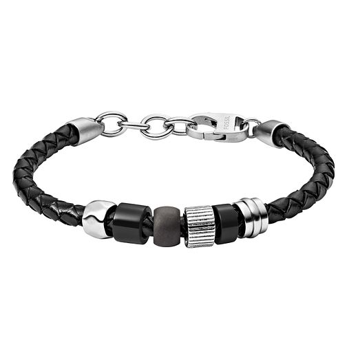 Fossil Rondelle Men's Black Leather & Steel Bracelet - Product number 3286444