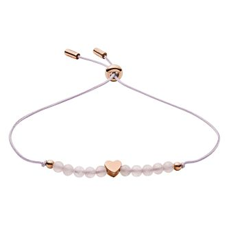 Fossil Ladies Rose Gold Tone Heart & Rose Quartz Bracelet - Product number 3286460